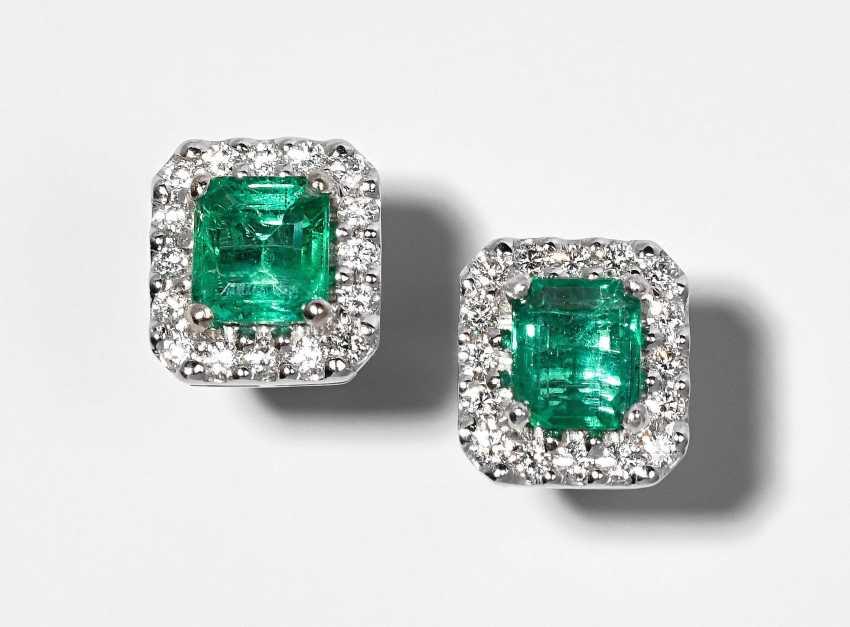 Smaragd-Brillant-Ohrstecker - photo 1