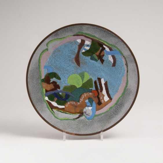 Эмалевая тарелка с пейзажем мотив - фото 1