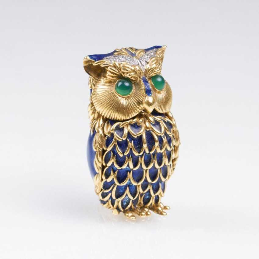 Миниатюрный золото банку 'сова' с драгоценными камнями и синей эмалью-Декор - фото 1
