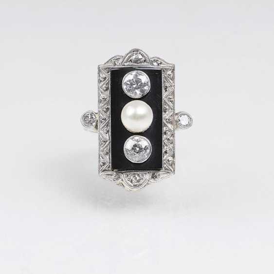 АР-деко алмаз-Perl-кольцо с оникс-отделочные - фото 1
