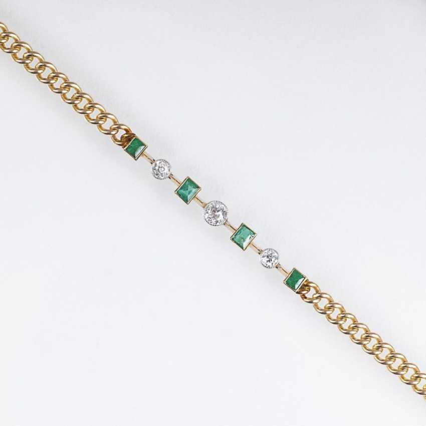 Модерн-браслет с изумрудами и altschliff бриллиантами - фото 1