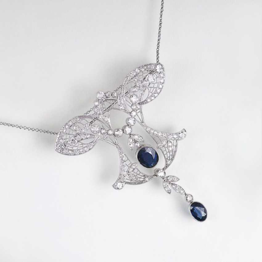 Fine art Nouveau diamond necklace with sapphires - photo 1
