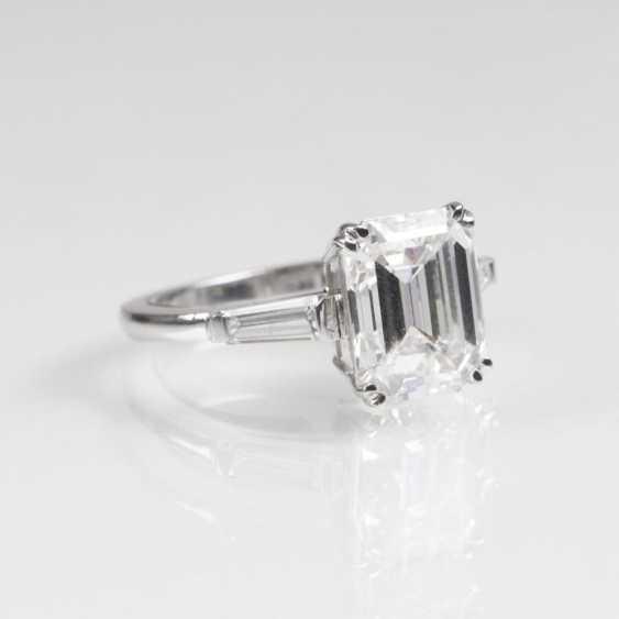 Мощная, тонкая белая пасьянс кольцо с бриллиантом - фото 2