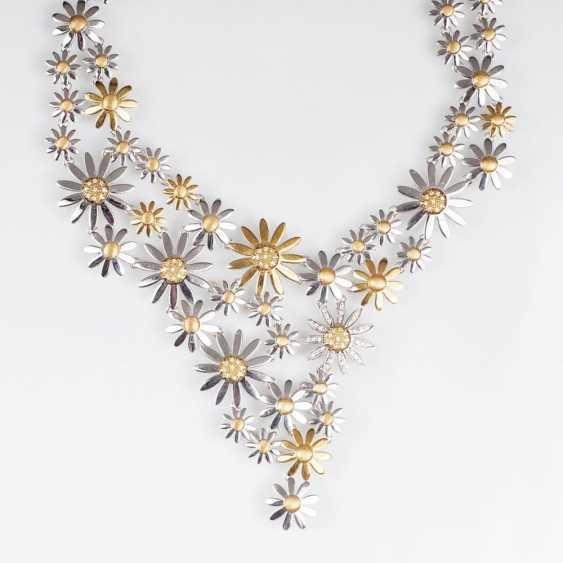 Необычное, двухцветное золото колье 'летние цветы' с блестящей отделкой - фото 1