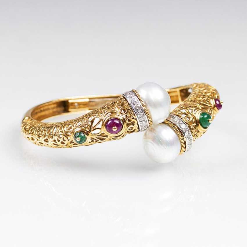 Золото-Armspange с цветными драгоценными камнями и жемчугом - фото 1