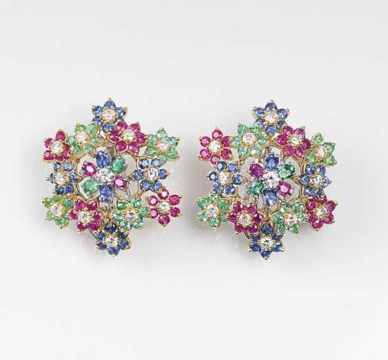 Пара цветков форменный цвет драгоценных камней серьги - фото 1