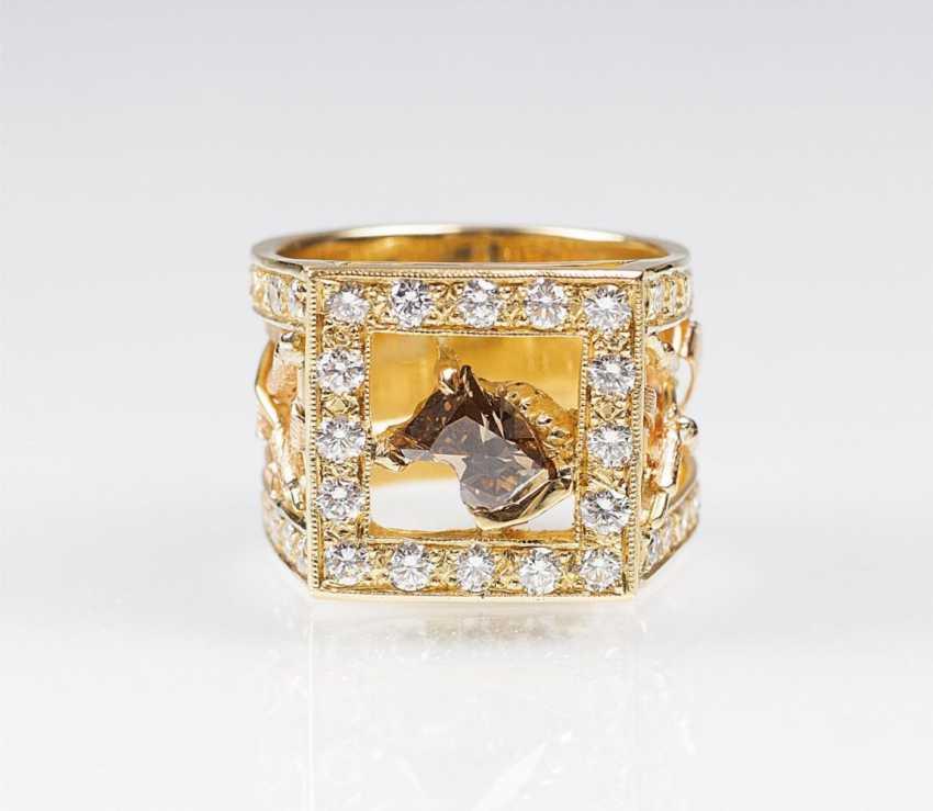 Реже блестящий кольцо с бриллиантом-голова Лошади в форме - фото 1
