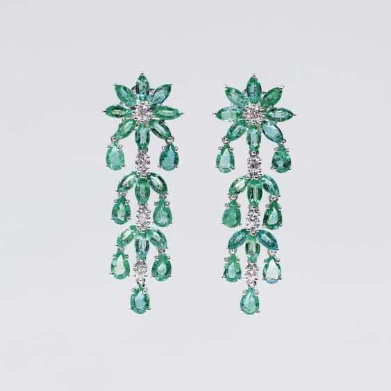Пара роскошной изумрудно-бриллиантовый-серьги - фото 1