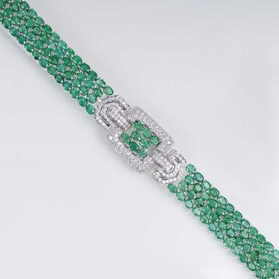 Высокий уровень изумрудно-бриллиантовый браслет в стиле АР-деко - фото 1