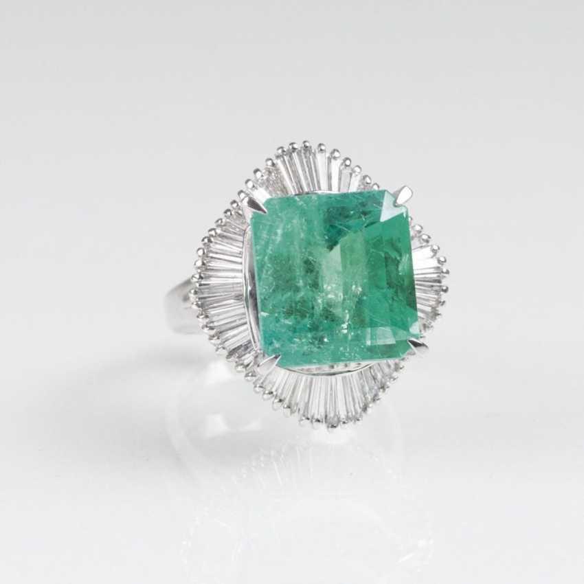 Высоко точный Колумбийский изумруд кольцо с алмазной отделкой - фото 2