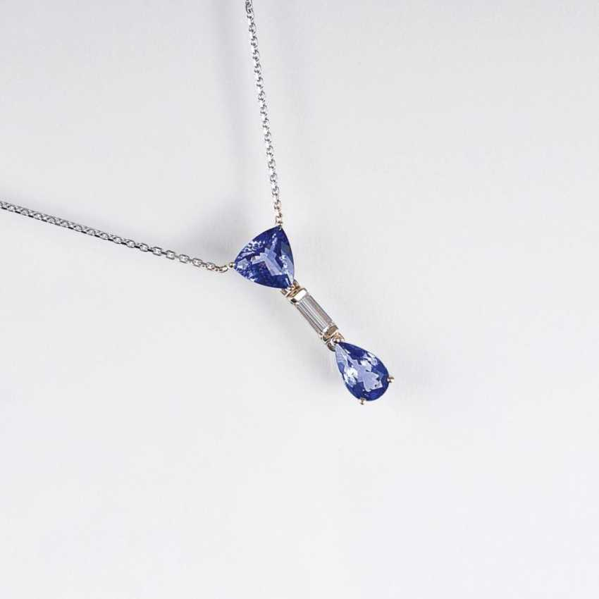 Танзанит бриллиант кулон на цепочке - фото 1