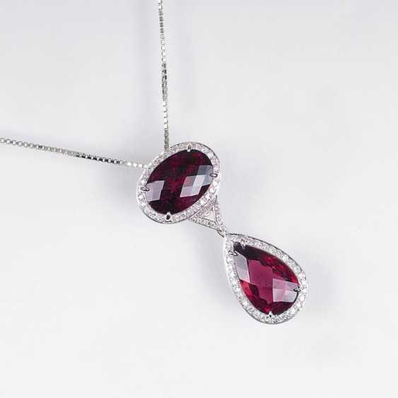 Турмалин бриллиант кулон на цепочке - фото 1