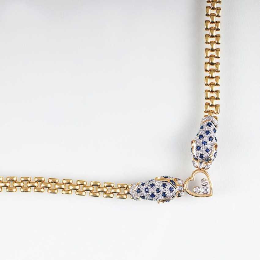 Сапфир бриллиант ожерелье с Panther Decor - фото 1