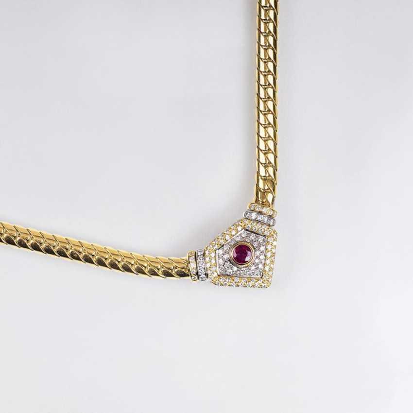 Золотые колье с бриллиантами и Рубином - фото 1