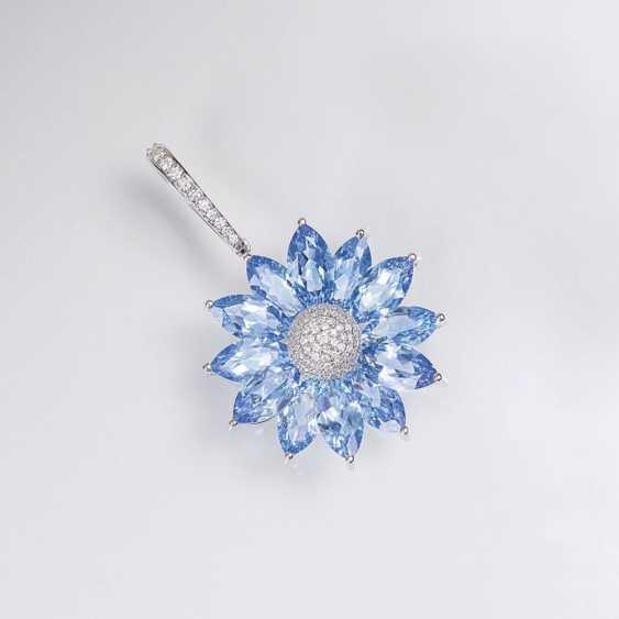 Цветет Форменный Синий Топаз Бриллиант Кулон - фото 1