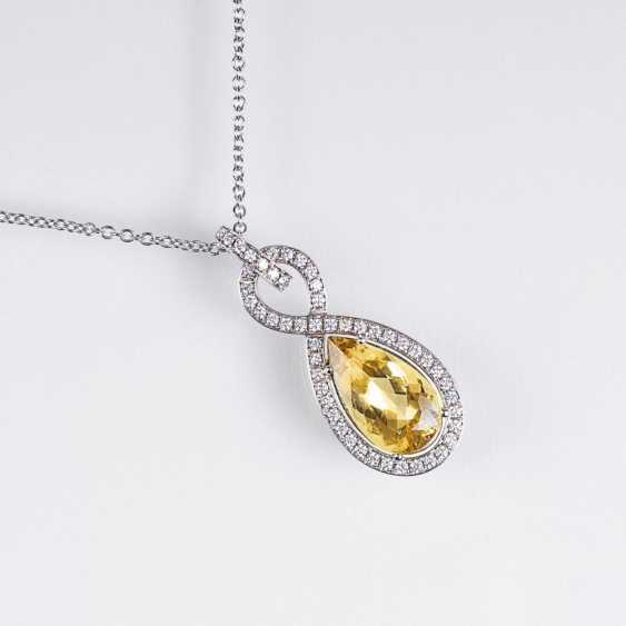 Золотой берилл бриллиант кулон с цепочкой - фото 1