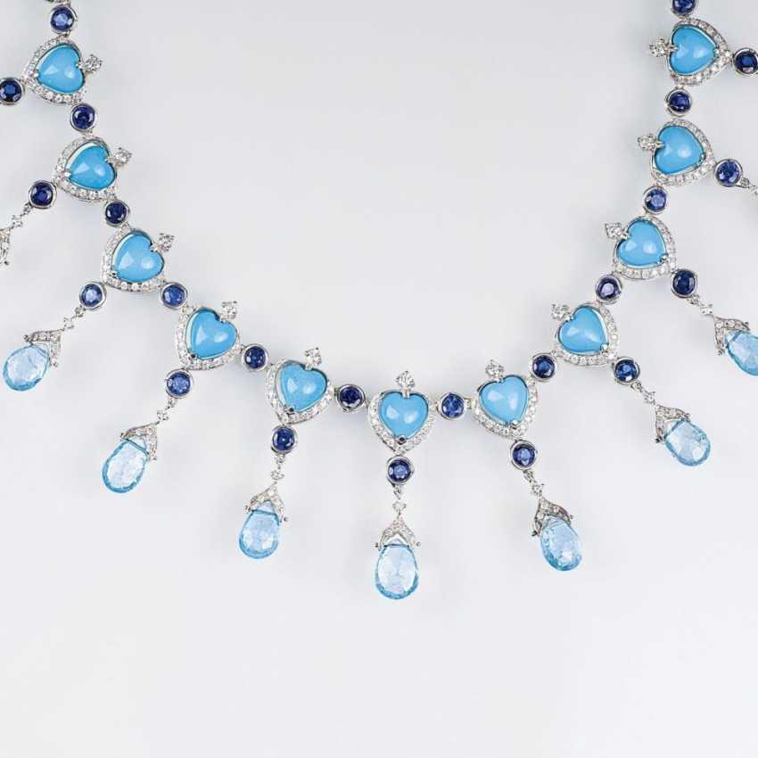 Turquoise aquamarine-necklace with sapphires and diamonds - photo 1