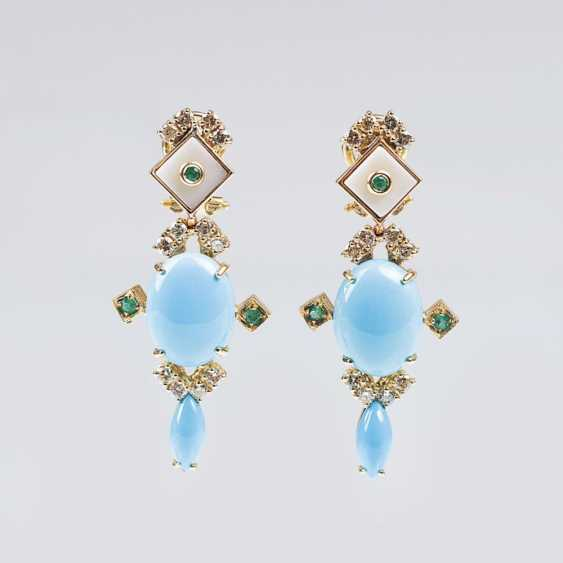 Couple of color of fine turquoise and diamond earrings with emeralds - photo 1