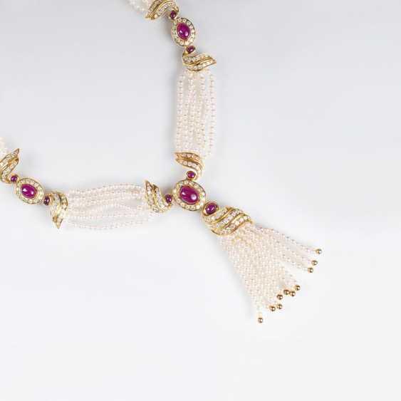 Бусы-колье с богатым бриллиант и Рубин-отделочные - фото 1