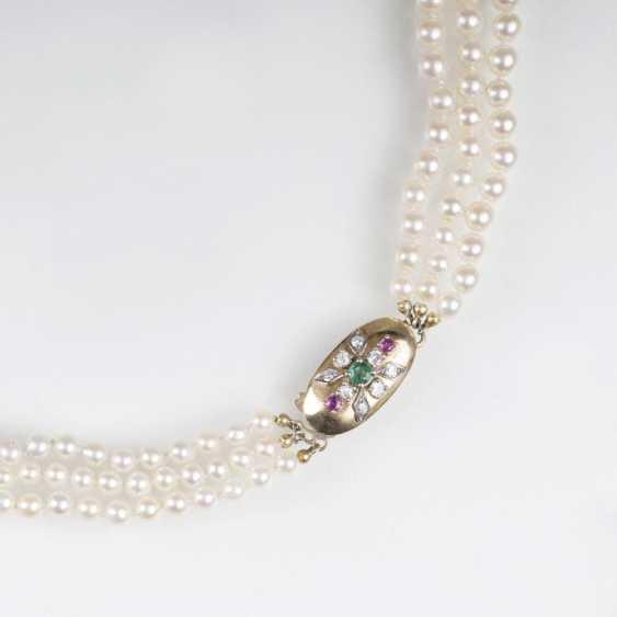 Многорядные бусы ожерелье с драгоценными камнями-Застежка - фото 1