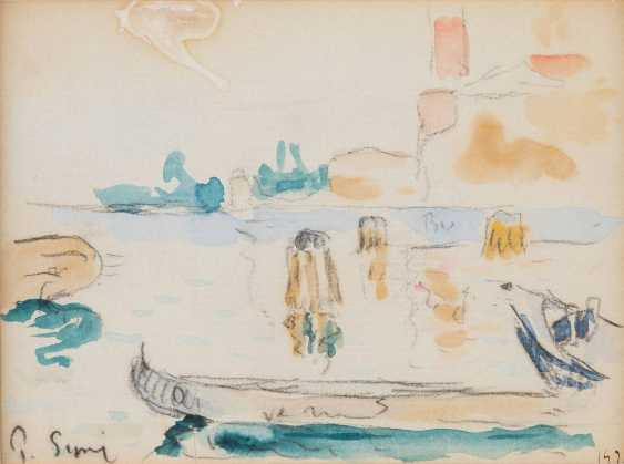PAUL SIGNAC 1863 - Paris- 1935 ibid harbour view WITH a STATIONARY BOAT - photo 1