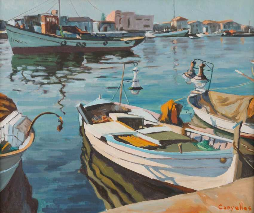 CANYELLES Active 2. Half of the 20. Century, THREE PAINTINGS WITH MEDITERRANEAN LANDSCAPES - photo 1