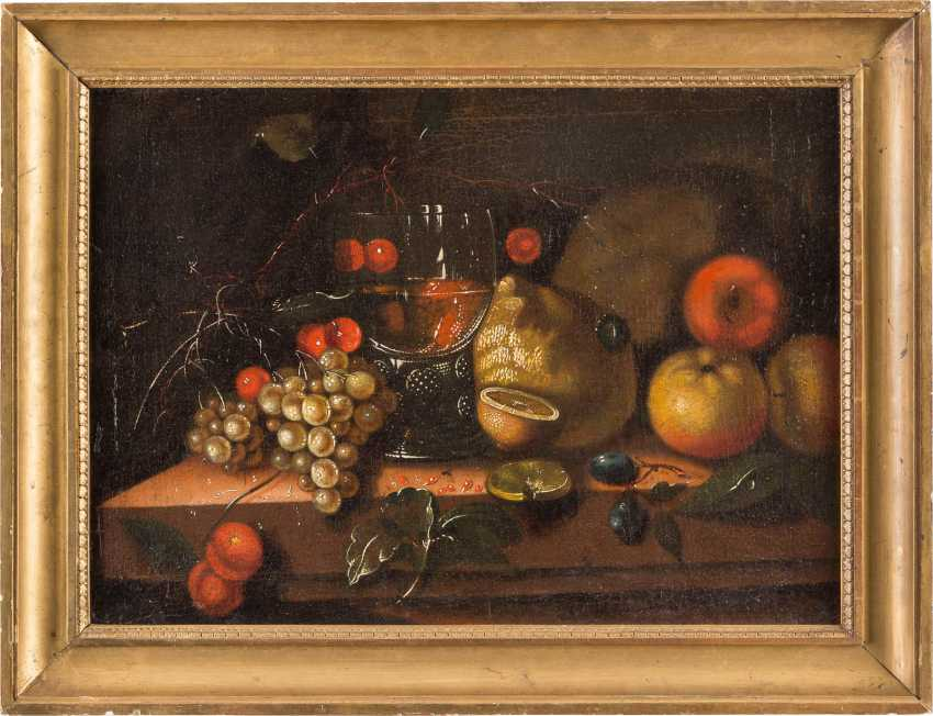 STILL-LIFE WITH CHERRIES, GRAPES, POMEGRANATE, APPLES, LEMONS, AND WINE GLASS - photo 2