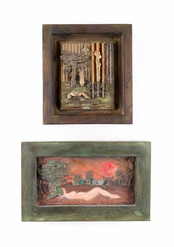 WOLFGANG FRESHNESS, U. A. 1946 Uedem TWO FRAMED small reliefs ('dream landscape' AND 'LANDSCAPE WITH a RECUMBENT NUDE') - photo 1