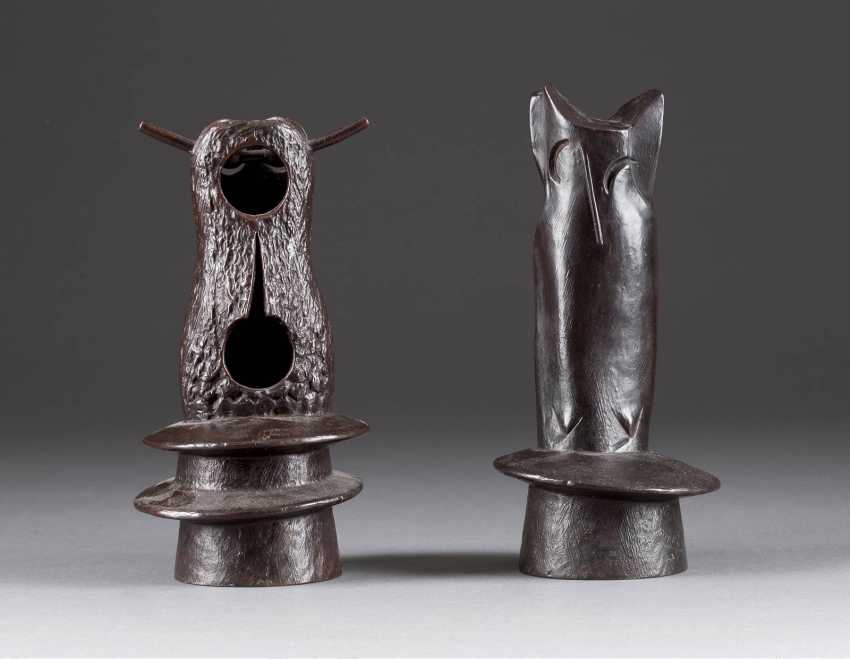 WOLFGANG FRESHNESS 1946 Uedem TWO animal sculptures IN the FORM OF OWLS - photo 1