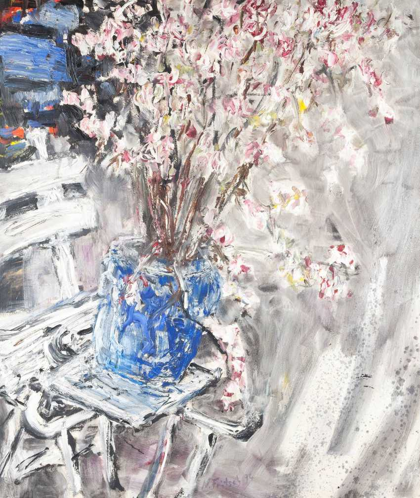 NORBERT FRITSCH 1952 Berlin still life with flowers in a blue Vase - photo 1