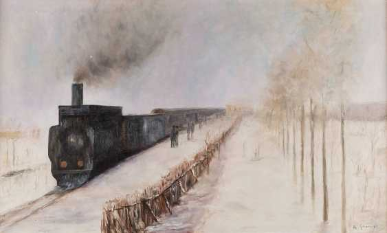 ALDO GRAVA Active 2. Half of the 20. Century winter landscape WITH EINFAHRENDEM TRAIN - photo 3