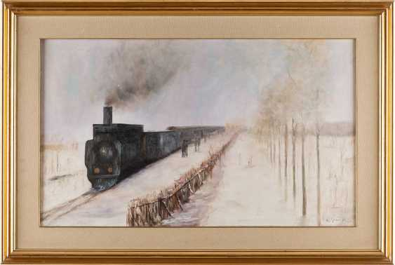 ALDO GRAVA Active 2. Half of the 20. Century winter landscape WITH EINFAHRENDEM TRAIN - photo 1
