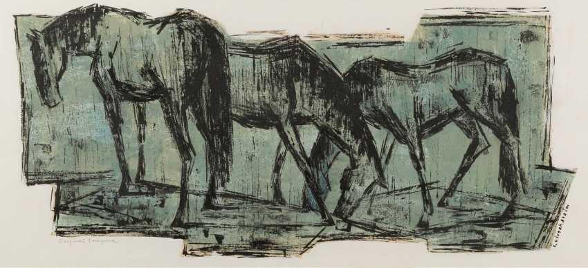 ERHARD KIRSCHSTEIN 1920 - 1972, was active in Berlin THREE HORSES grazing - photo 1