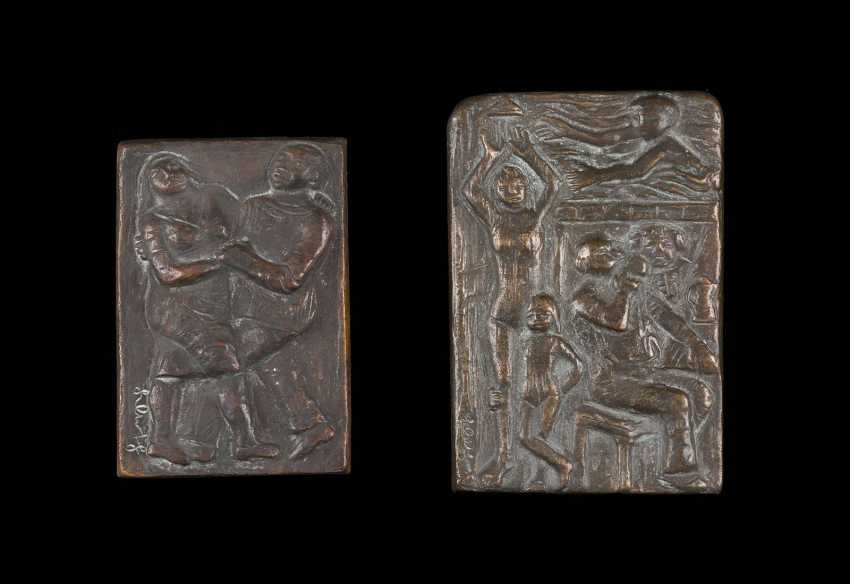 KARL KLUTH 1922 Düsseldorf - in 2012, the same place COUPLE of RELIEFS - DANCING COUPLE, AND interior scene - photo 1
