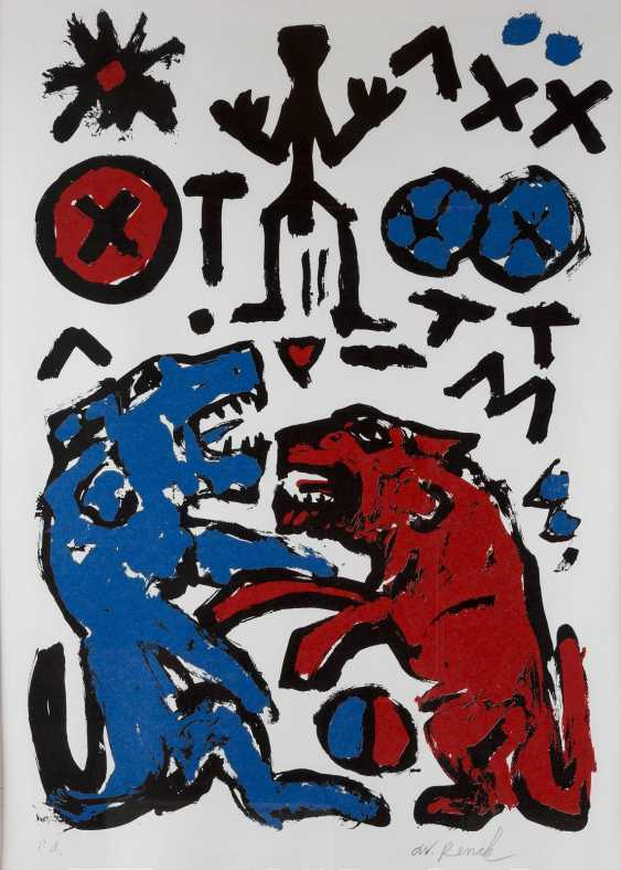 A. R. PENCK 1939 Dresden - 2017 Zurich HOWL WITH THE WOLF - photo 1