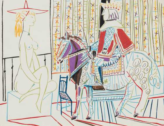 PABLO PICASSO (AFTER) 1881 Malaga - 1973 Mougins FEMALE NUDE, AND KING ON HORSE - photo 1