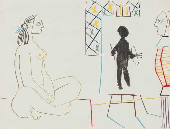 PABLO PICASSO (AFTER) 1881 Malaga - 1973 Mougins, THE ARTIST AND HIS MODEL - photo 1