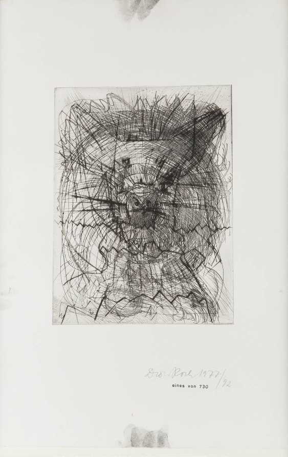 DIETER ROTH 1930 Hannover - 1998 Basel ABSTRACT COMPOSITION etching on strong paper. BM 56 x 37.5 cm. In the bottom right hand signed and dated, and the copy number 'Dieter Roth 1977; one of 730/92'. Behind glass and framed. - photo 1