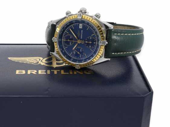 """Watch: sporty, vintage Breitling Chronograph """"Chronomat Ref. 81950 Serie Speciale"""", a special model with a solid 18K gold bezel, Complete Set with original papers, original box and original invoice from 1992 - photo 1"""