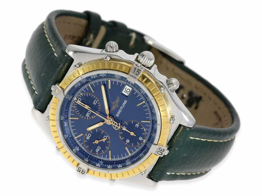 """Watch: sporty, vintage Breitling Chronograph """"Chronomat Ref. 81950 Serie Speciale"""", a special model with a solid 18K gold bezel, Complete Set with original papers, original box and original invoice from 1992 - photo 2"""