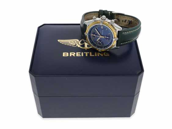 """Watch: sporty, vintage Breitling Chronograph """"Chronomat Ref. 81950 Serie Speciale"""", a special model with a solid 18K gold bezel, Complete Set with original papers, original box and original invoice from 1992 - photo 5"""
