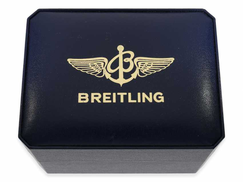"""Watch: sporty, vintage Breitling Chronograph """"Chronomat Ref. 81950 Serie Speciale"""", a special model with a solid 18K gold bezel, Complete Set with original papers, original box and original invoice from 1992 - photo 6"""