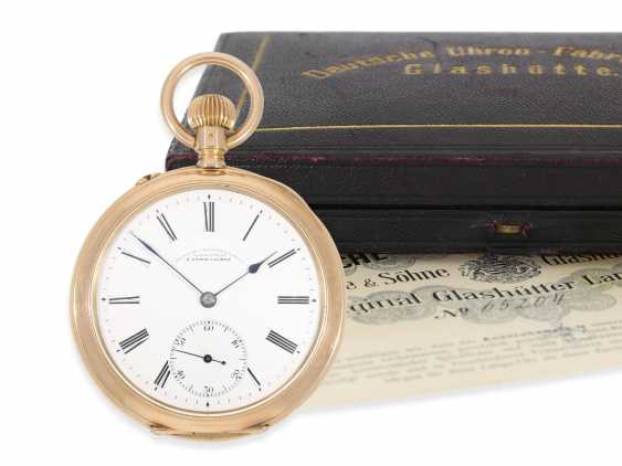 Pocket watch: A. Lange & Söhne men's watch in rose-gold, No. 65204, completely original condition with the original box and original papers, CA. 1910 - photo 1