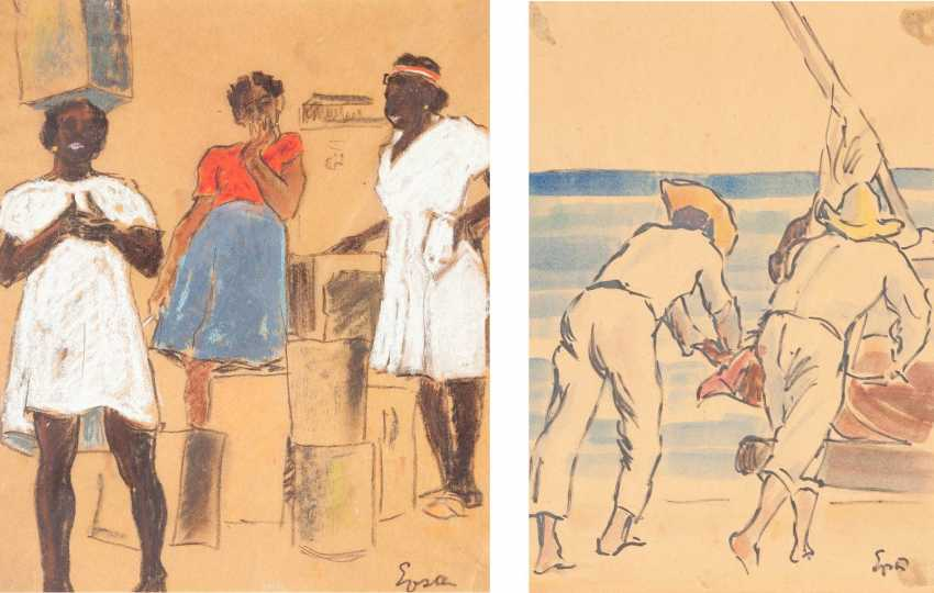 SOUTH American MODERN Operates to 1950/60's set OF TWO WORKS ('the THREE WOMEN IN CONVERSATION' AND 'FISHERMEN WHEN they haul in THE NETS') - photo 1