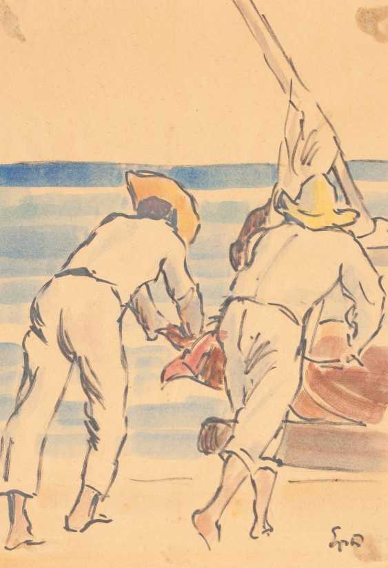 SOUTH American MODERN Operates to 1950/60's set OF TWO WORKS ('the THREE WOMEN IN CONVERSATION' AND 'FISHERMEN WHEN they haul in THE NETS') - photo 3