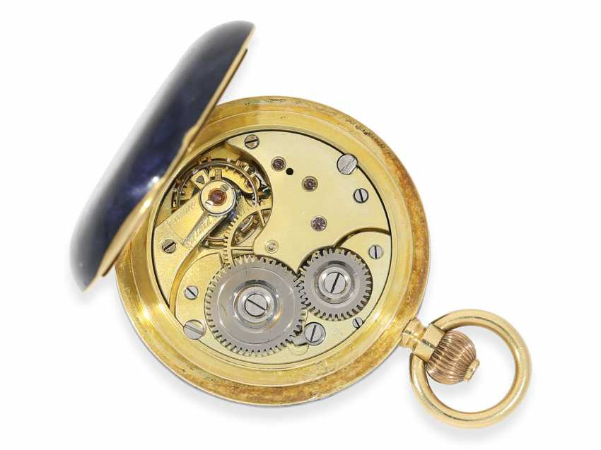 """Pocket watch: rarity, extremely rare women's watch in Gold/enamel-Savonnette-housing """"horn violets"""", exceptional quality, signed Omega, Switzerland, about 1900 - photo 3"""