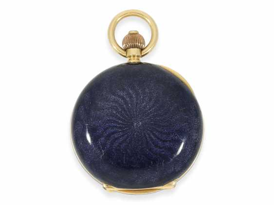 """Pocket watch: rarity, extremely rare women's watch in Gold/enamel-Savonnette-housing """"horn violets"""", exceptional quality, signed Omega, Switzerland, about 1900 - photo 4"""