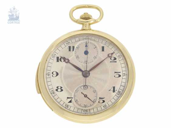 Pocket watch: extremely rare, super-slim Geneva Frackuhr with minute repeater and Chronograph with Register, Haas Neveux & co., Genève, No. 20247, CA. 1920 - photo 1