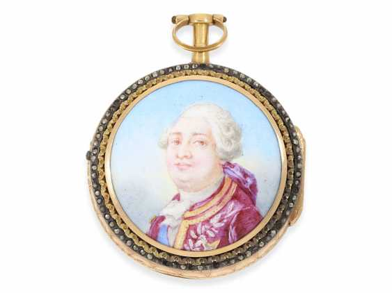 Pocket watch: important, Museum Chatelaineuhr with enamel portrait of the French king, Louis XVI, and a unique skeleton, France, 1775 - photo 2