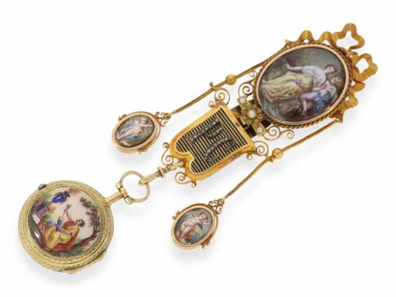 Pocket watch: unique and very fine Gold enamel Spindeluhr with corresponding Gold/enamel Chatelaine with diamonds, Gudin a Paris, CA. 1760 - photo 2